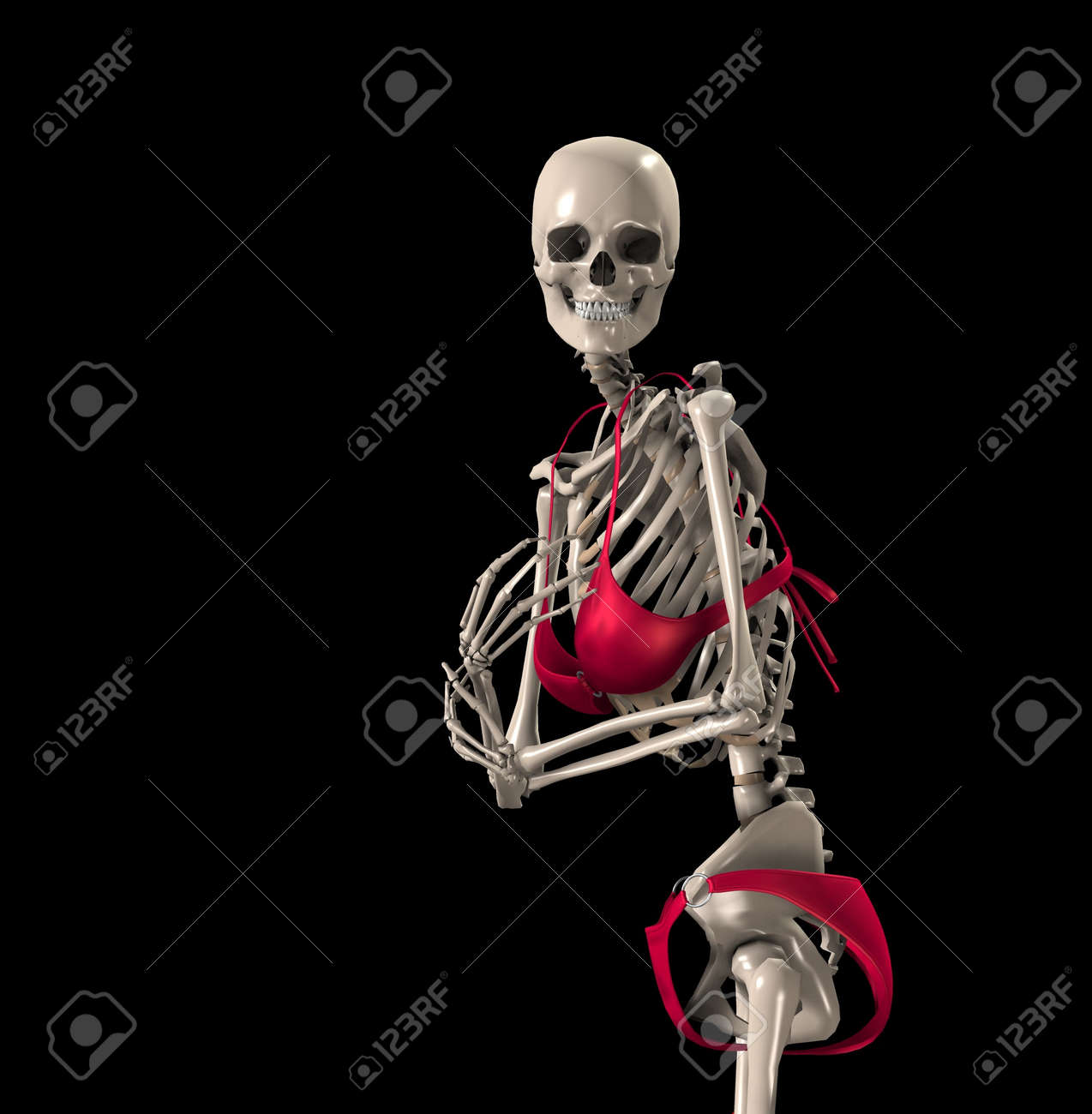 A Humorous Image Of A Skeleton In A Bikini Stock Photo Picture And