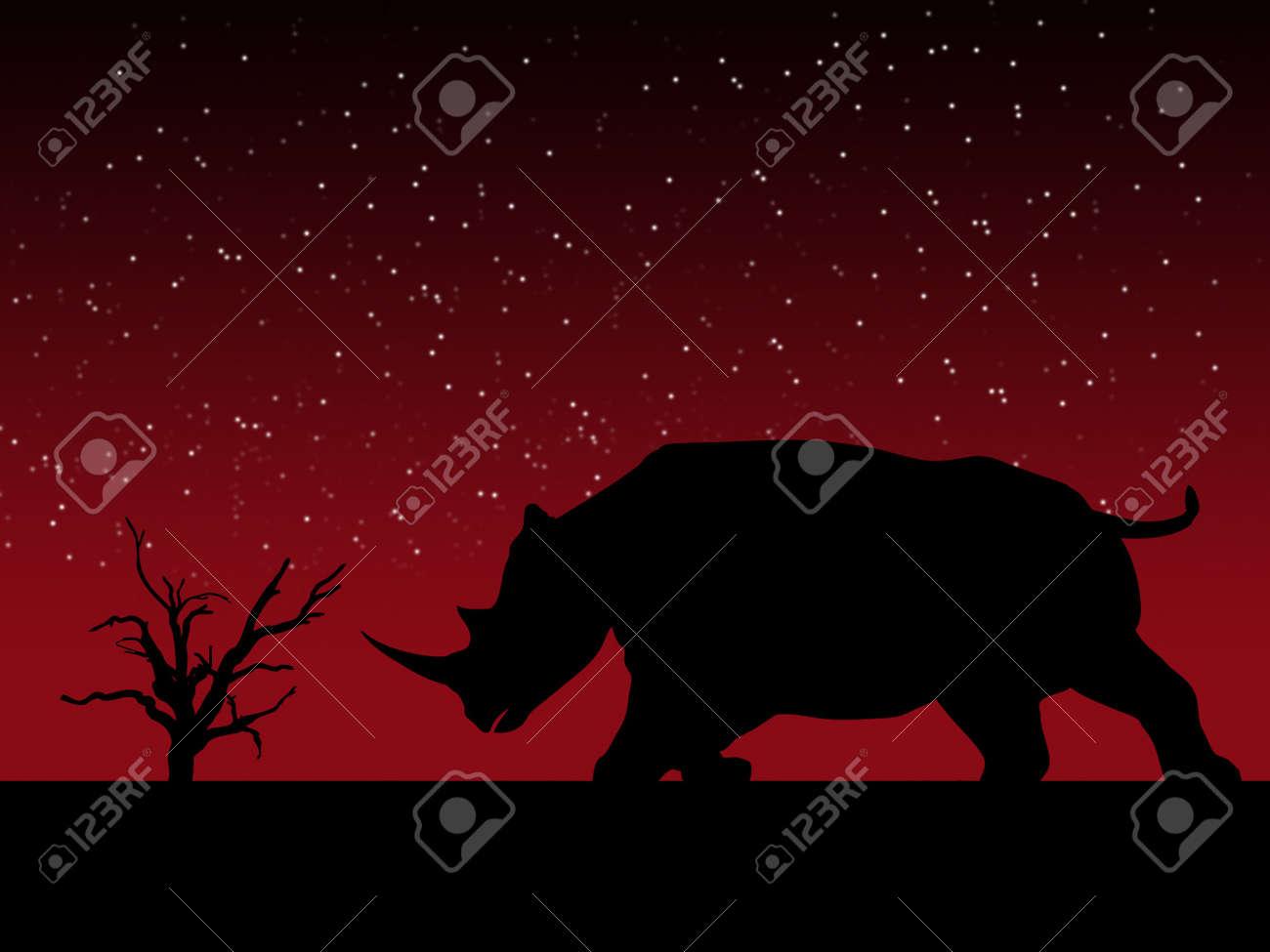A powerful Rhino against a sky background