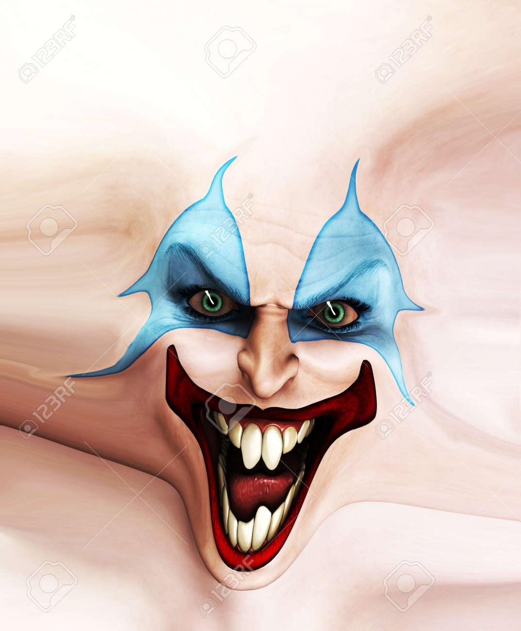 Very evil looking clown face on stretched skin. Stock Photo - 7768260