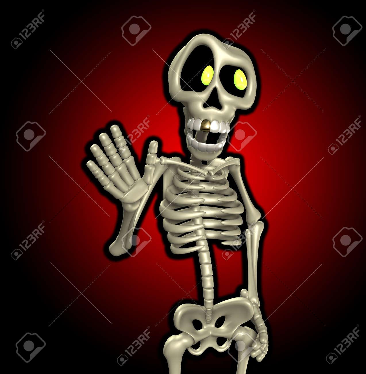 Immagini stock uno scheletro di cartone animato che è agitando