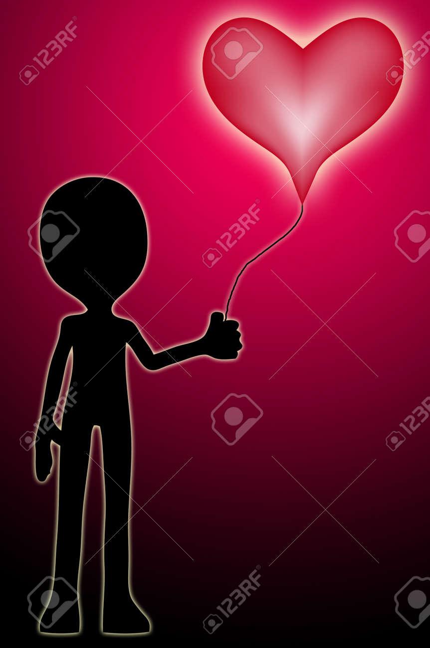 Personnage De Dessin Anime Tenant Un Ballon En Forme De Coeur D Amour Banque D Images Et Photos Libres De Droits Image 9162622