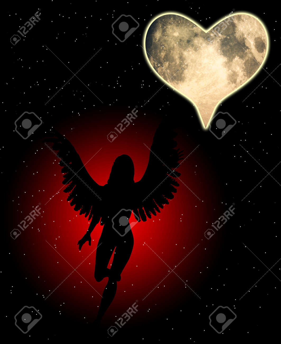 An angel with a heart shaped moon. Stock Photo - 12076483