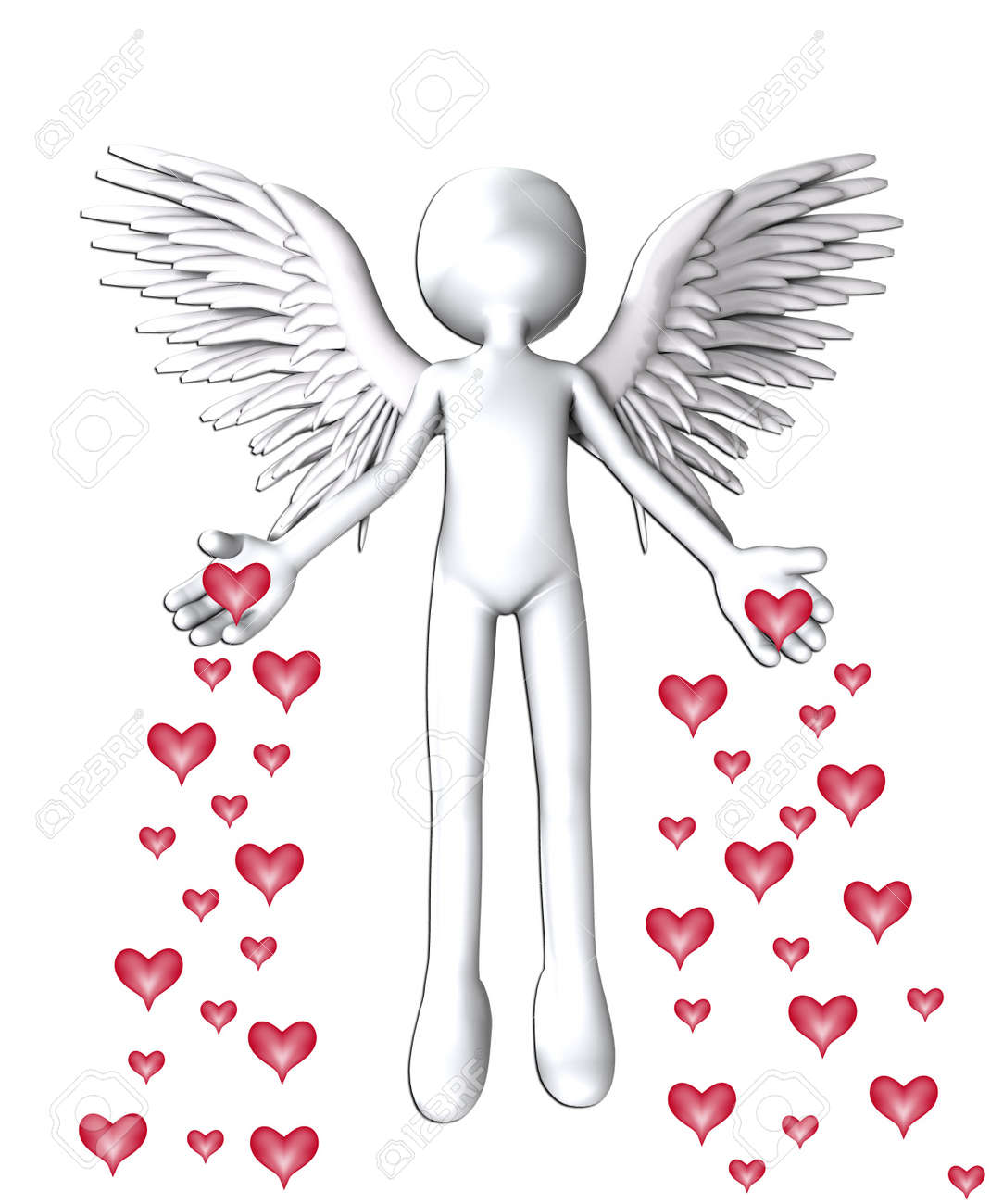 Angel that is spreading love hearts everywhere. Stock Photo - 12076448