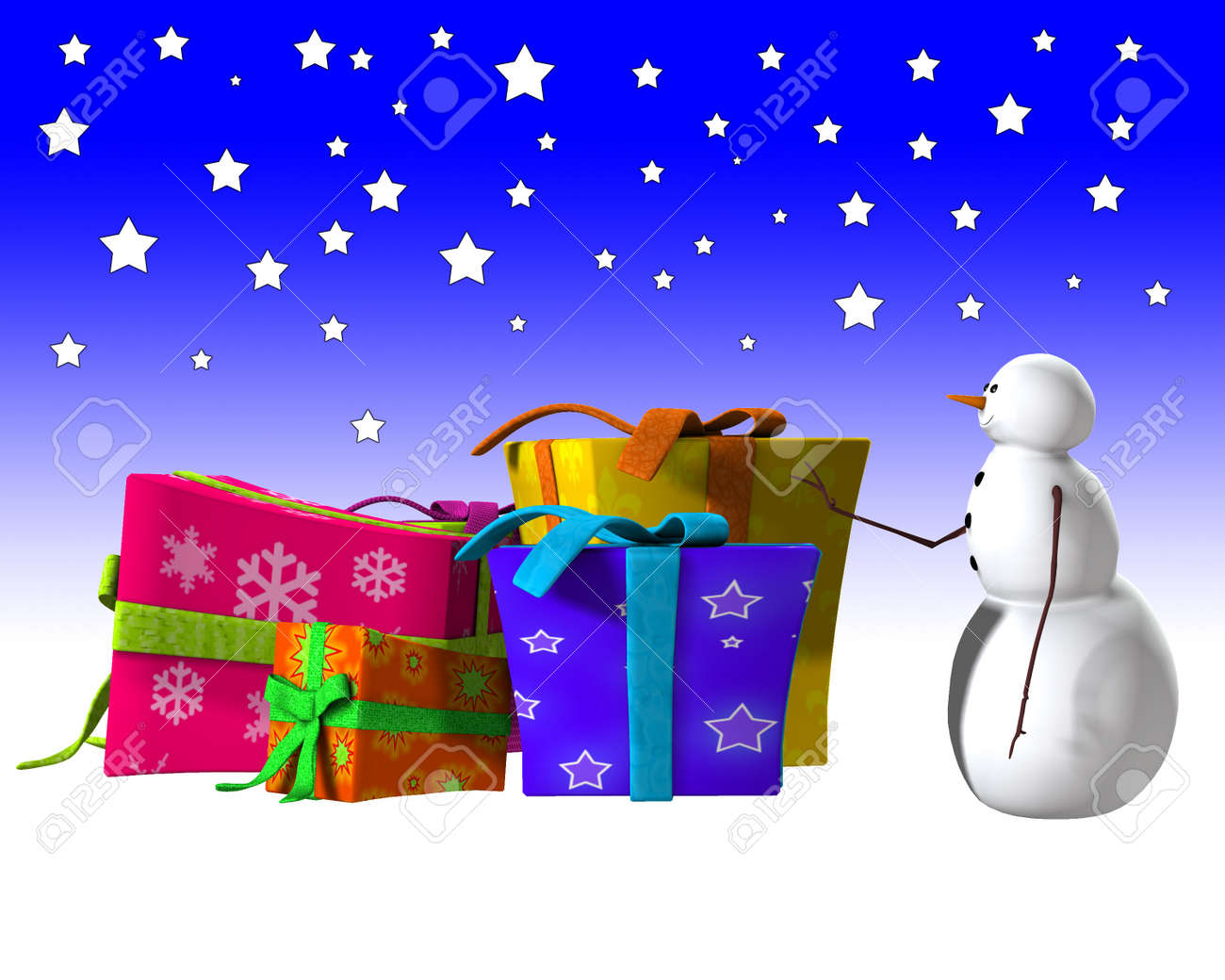 Snowman With Some Utterly Huge Christmas Presents