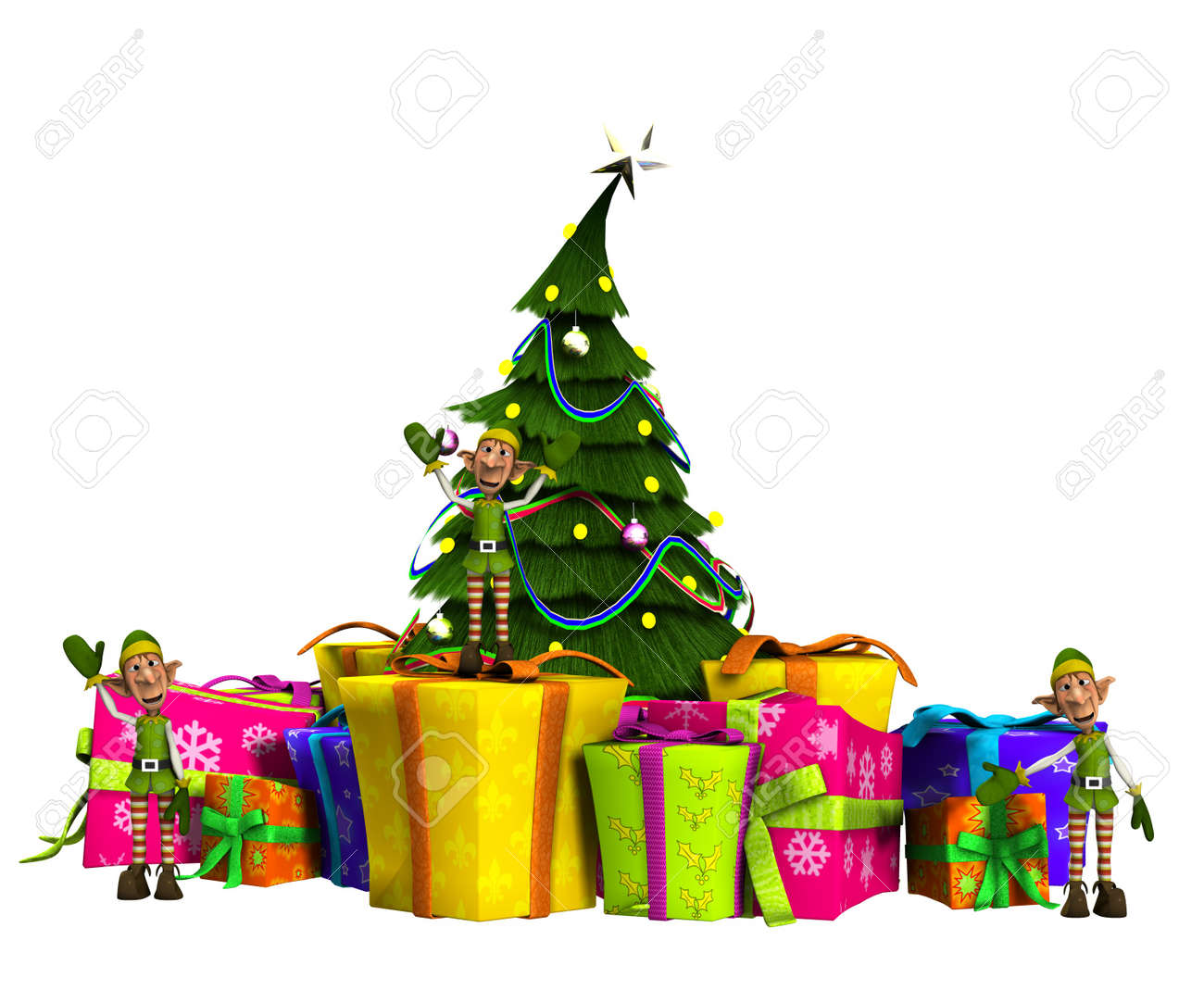 Some Mini Elves With Christmas Presents And A Christmas Tree. Stock ...
