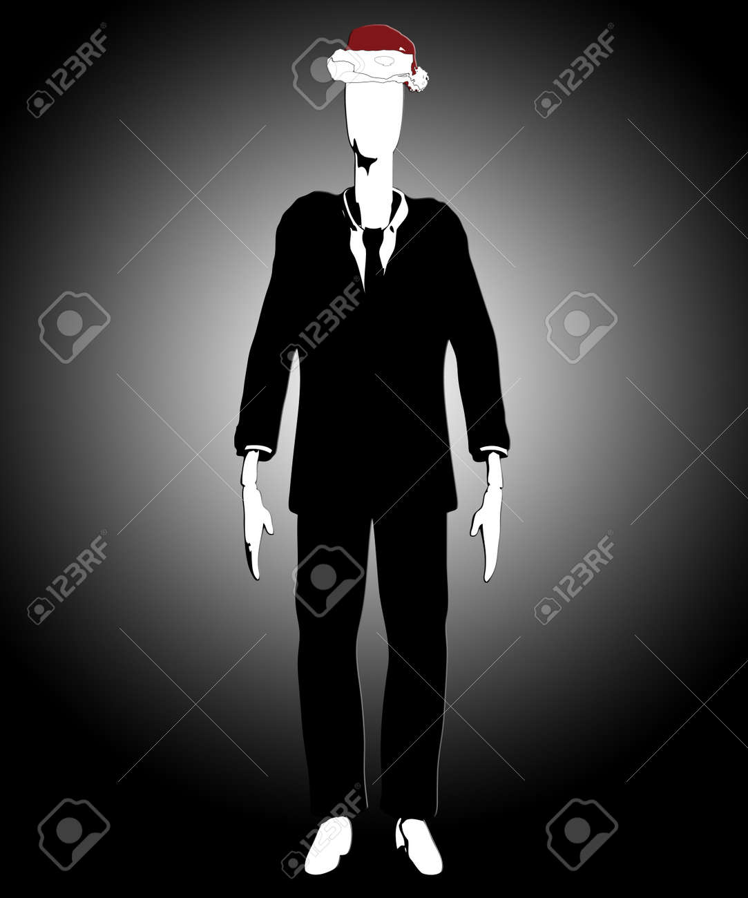 Slender Man Wearing A Christmas Hat Stock Photo Picture And Royalty
