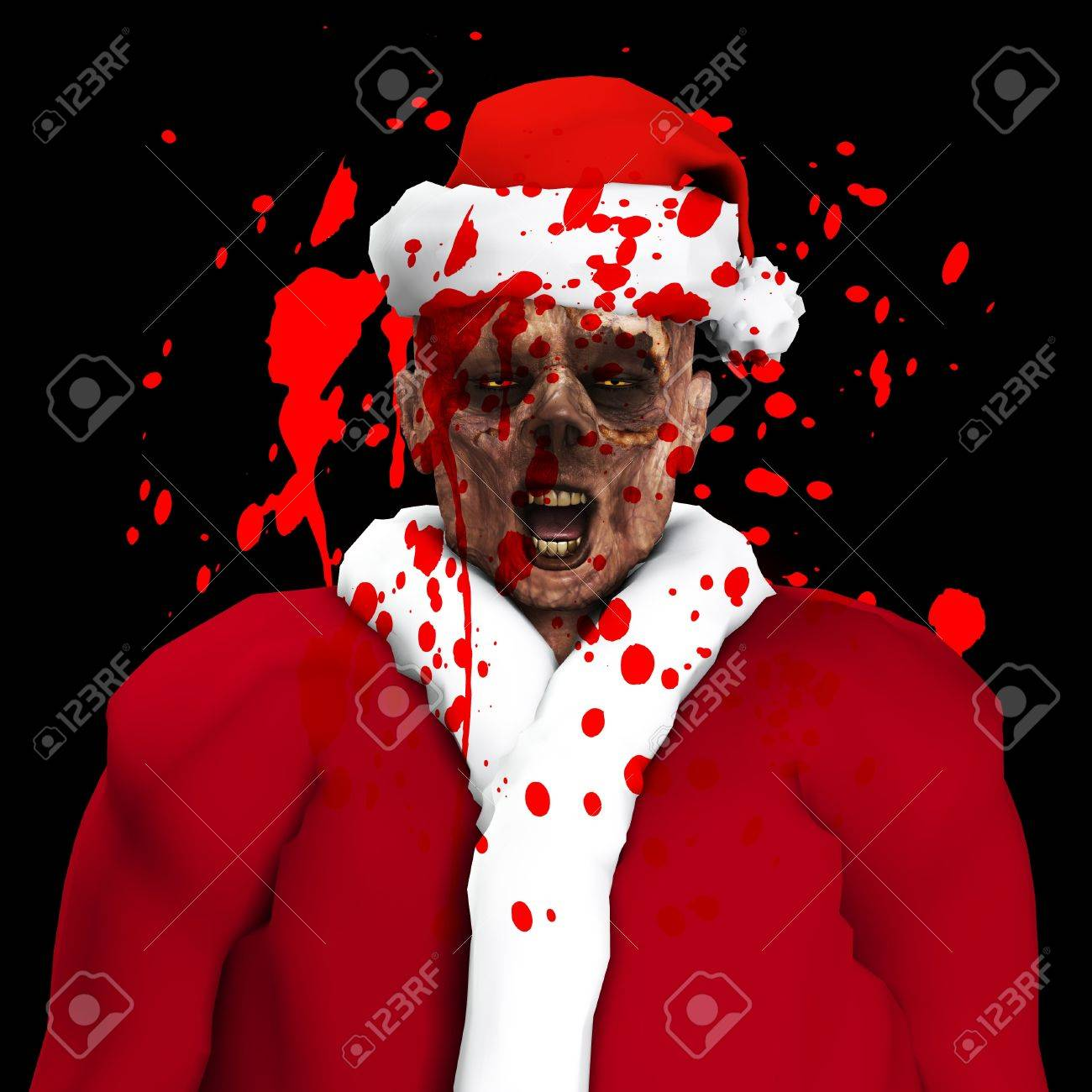 A Zombie father Christmas covered in blood Stock Photo - 16879438