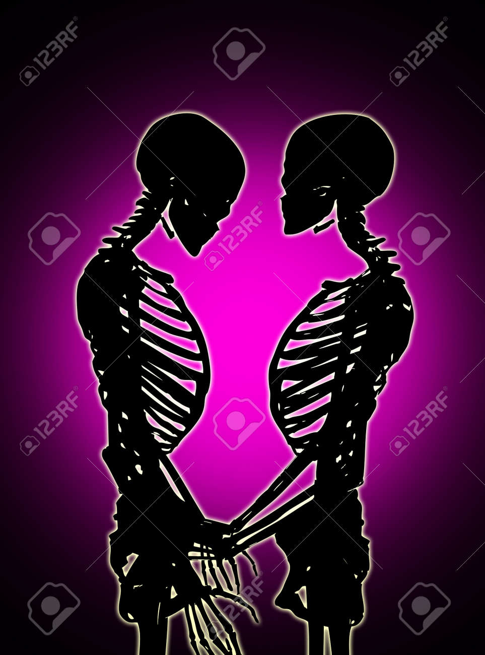 Male and female skeleton in a loving pose. Stock Photo - 17289842