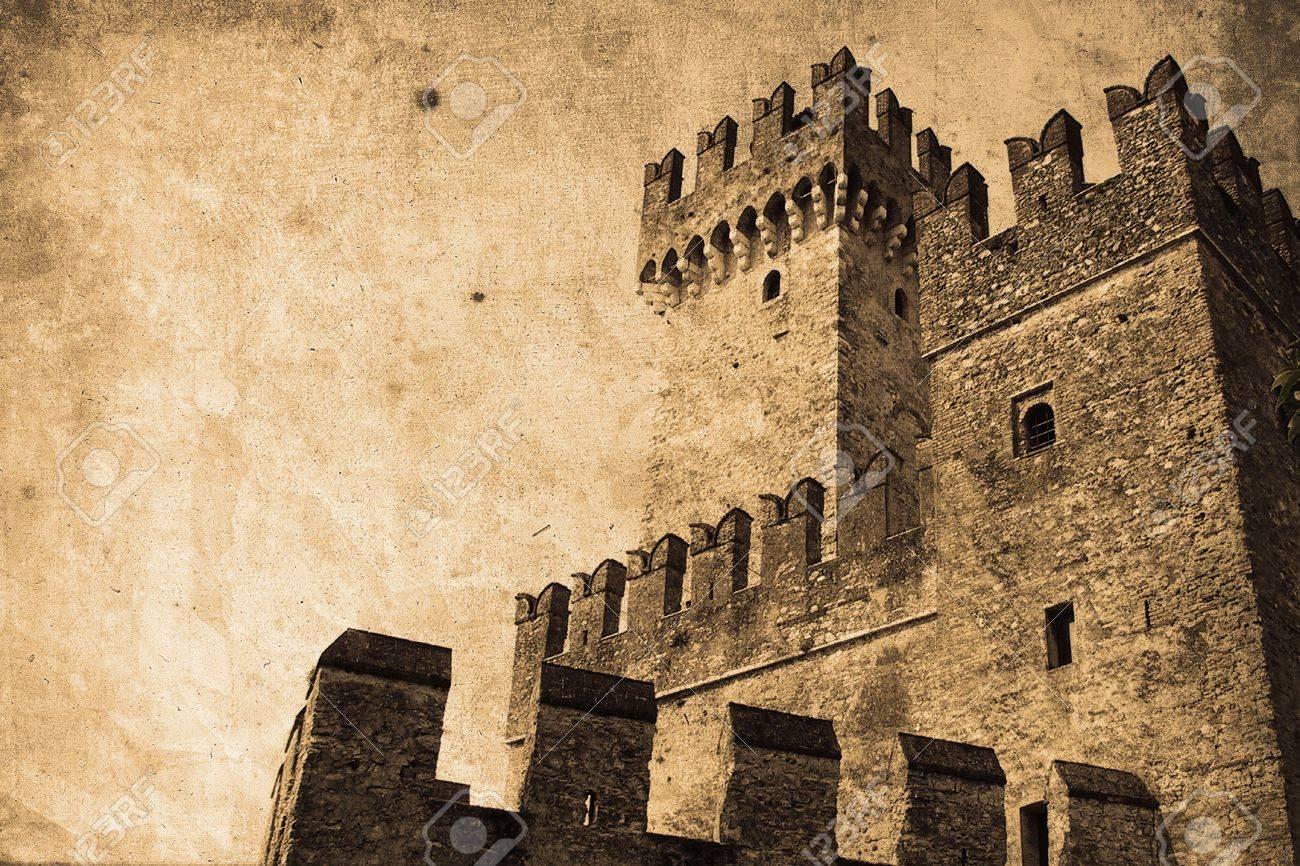 old knight's castle a in retro design look stock photo, picture