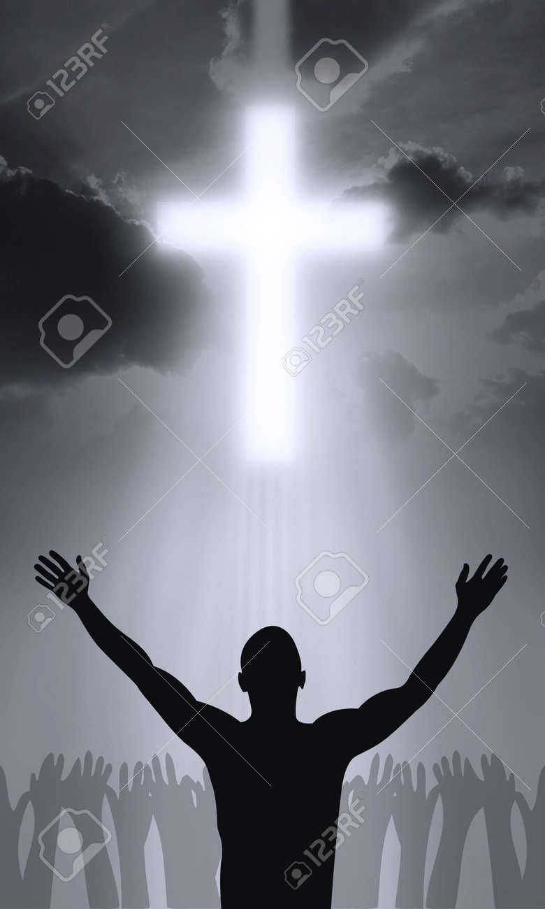the cross of golgahta jesus christ is alive stock photo picture