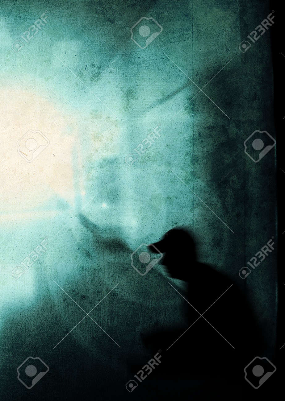 man with psychic pressure in a corridor Stock Photo - 4939640