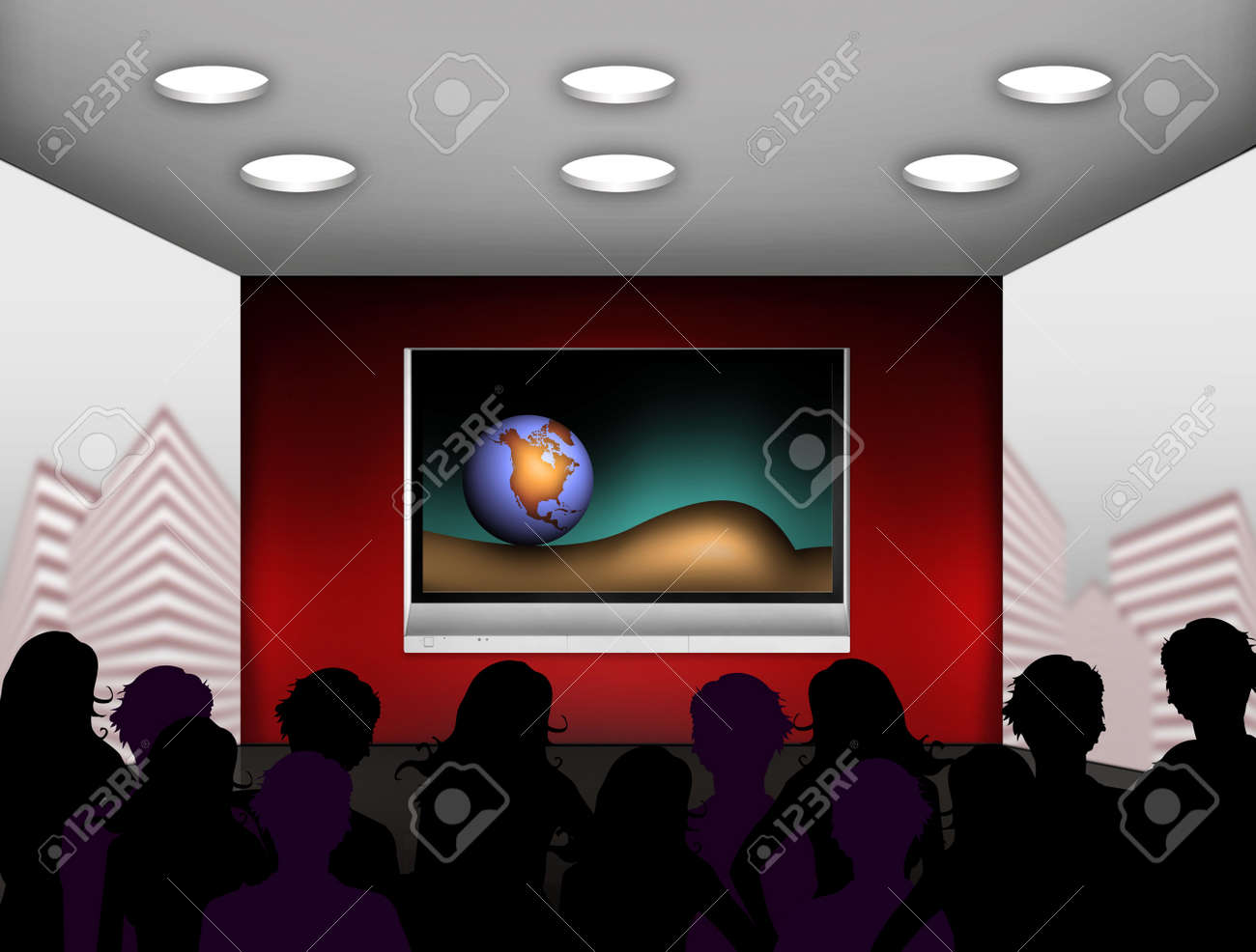 media room with plasma television on the wall Stock Photo - 4939036