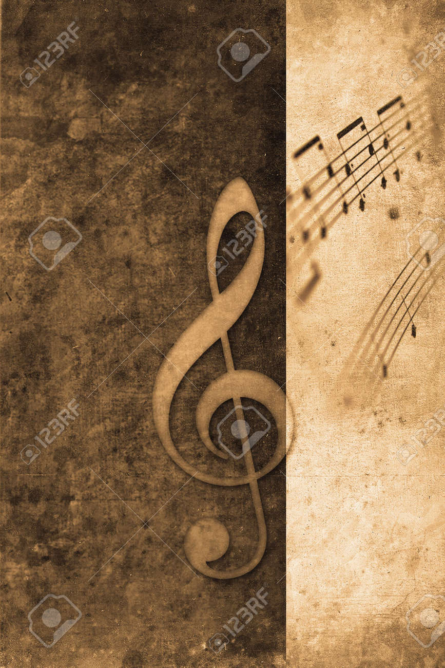 Poster design notes - Stock Photo Old Music Notes In Retro Design Look