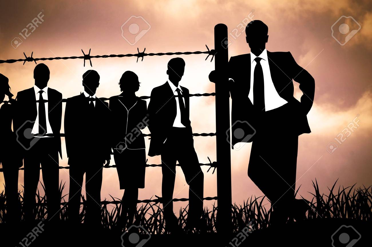 the banking managers behind barbed wire Stock Photo - 4939836