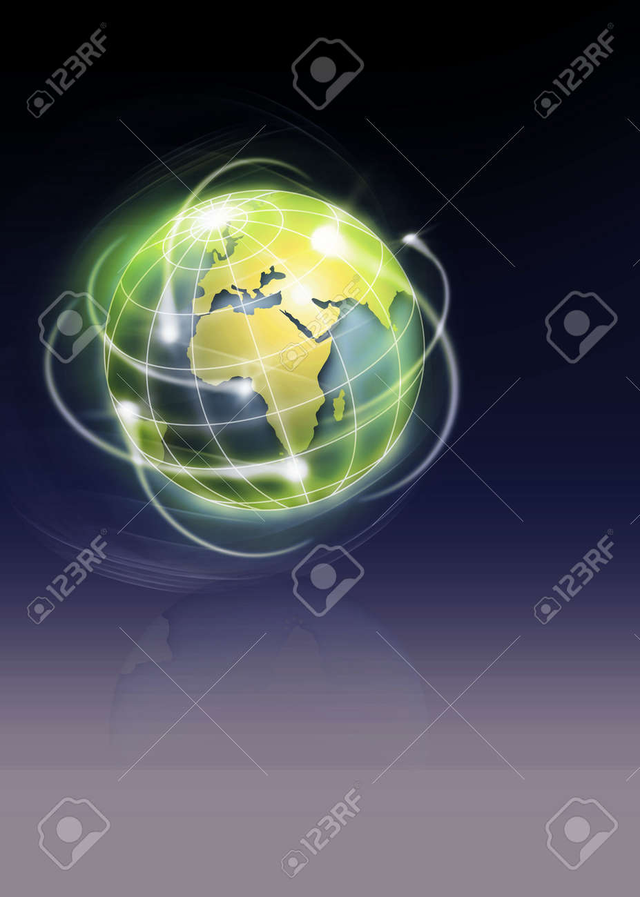 world with international movments as shooting stars Stock Photo - 4940177