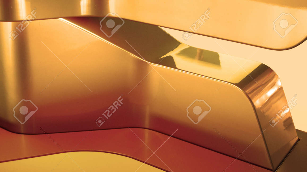 Detail Of Modern Interior Design With Reflective Forms Stock Photo