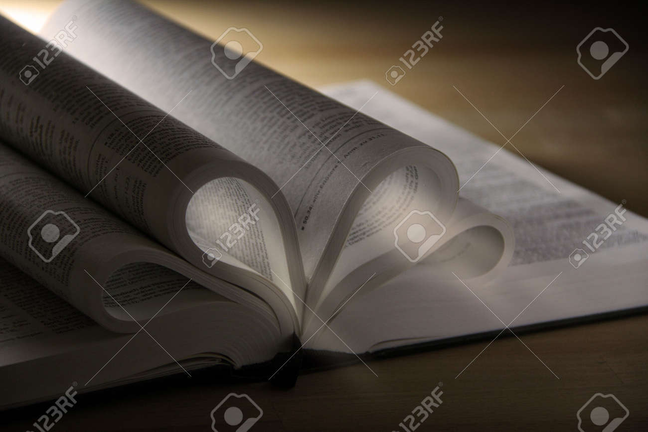 opened pages of a book on wooden table Stock Photo - 6088599