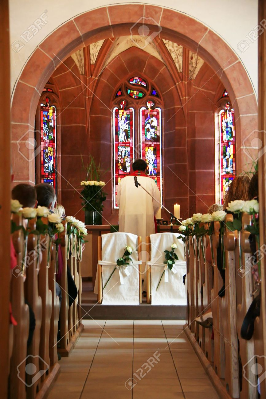 Seats on the altar of a wooden wedding church Stock Photo - 8432691