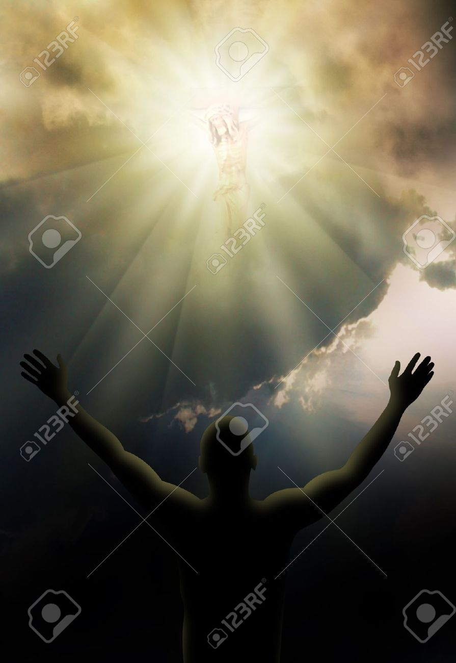 jesus christ on the cross in bright light stock photo picture and