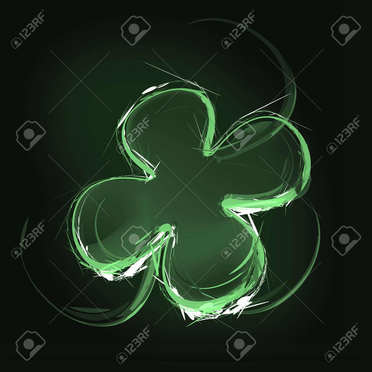 Art illustration of a green clover leaf Stock Illustration - 12454600