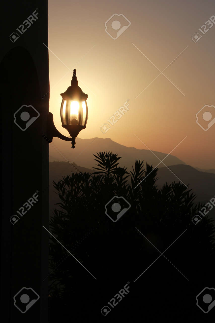 lamp in the morning with sunny backlight Stock Photo - 15236878