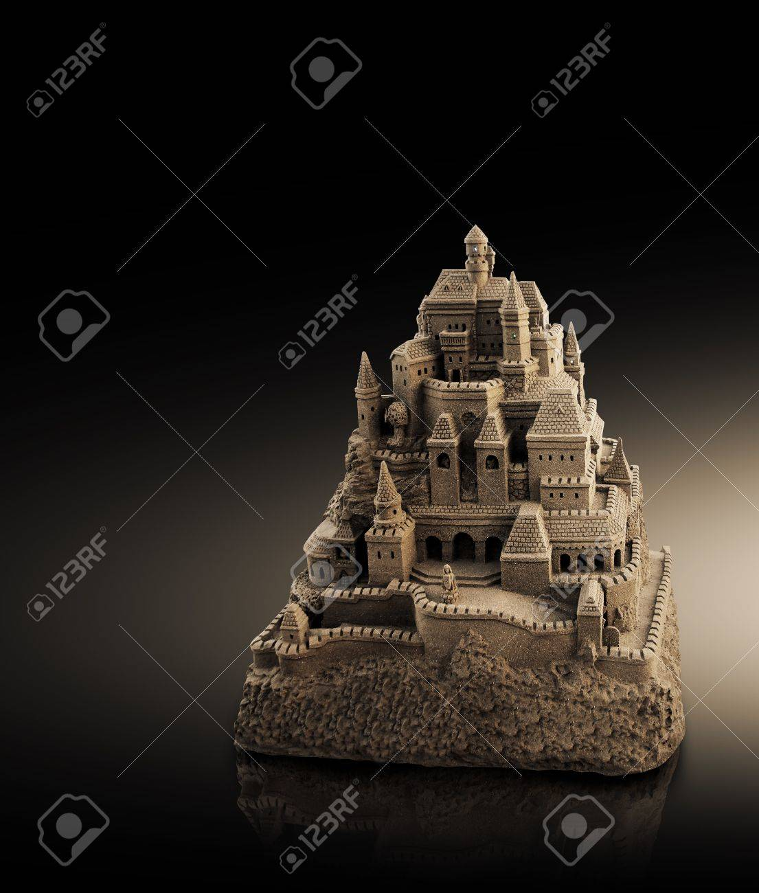 large sandcastle with many towers and crenels in retro look Stock Photo - 15301292