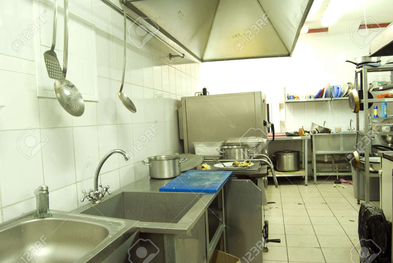 View Of Kitchen In Restaurant Or Canteen Stock Photo Picture And