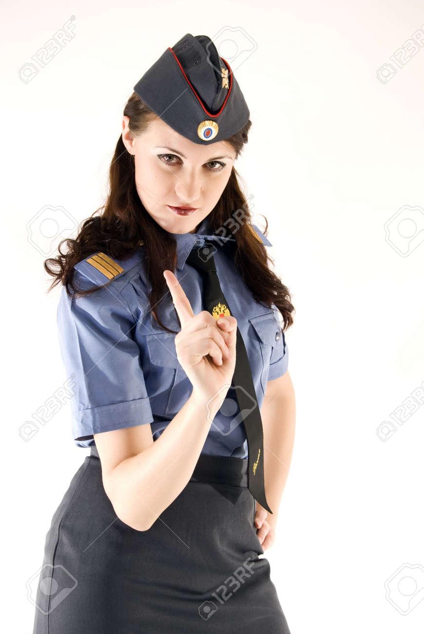 Good Stock Photo   Young Beautiful Woman In Police Uniform Warning