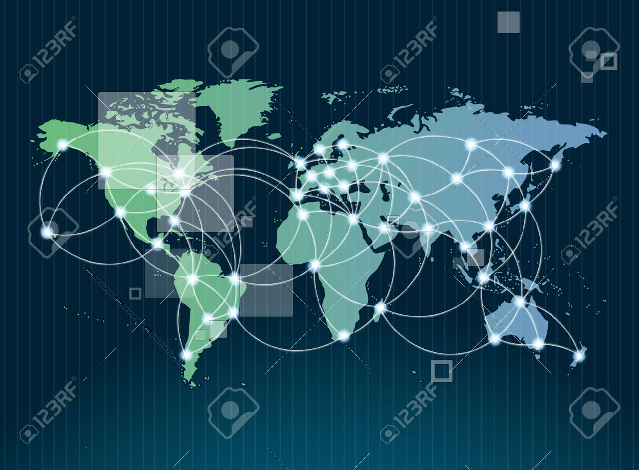 Global networking symbol of international comunication featuring a world map concept with connecting technology communities using computers and other digital devices Stock Photo - 11998840