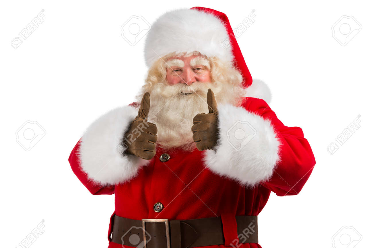 santa claus standing isolated on white background and thumbs
