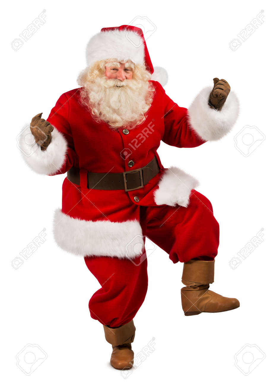 Christmas Dancing Santa.Happy Christmas Santa Claus Dancing Isolated On White Background