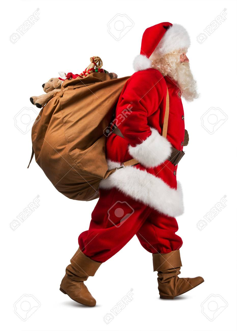 Santa Claus On The Run To Delivery Christmas Gifts Isolated On ...