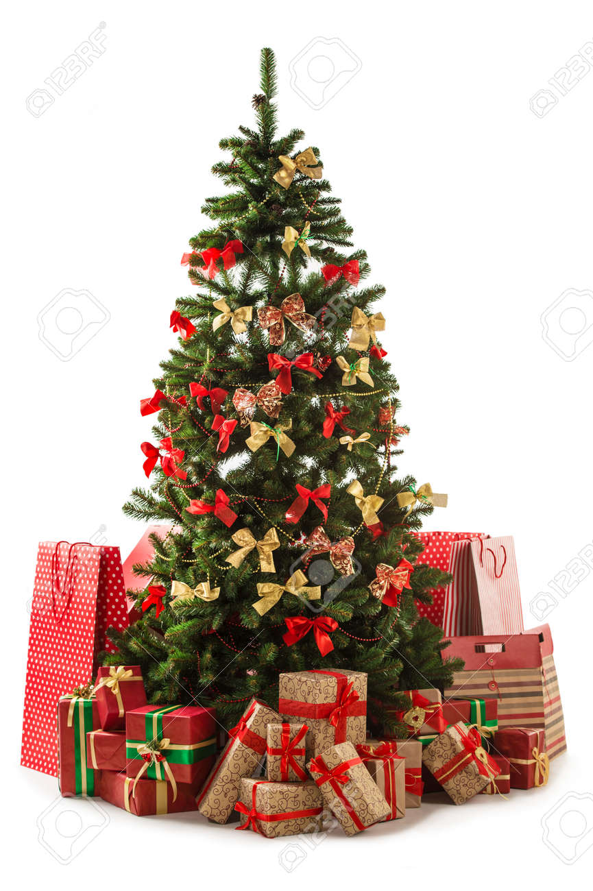 Christmas Tree Bags.Beautiful Christmas Tree With Gift Boxes And Shopping Bags Isolated