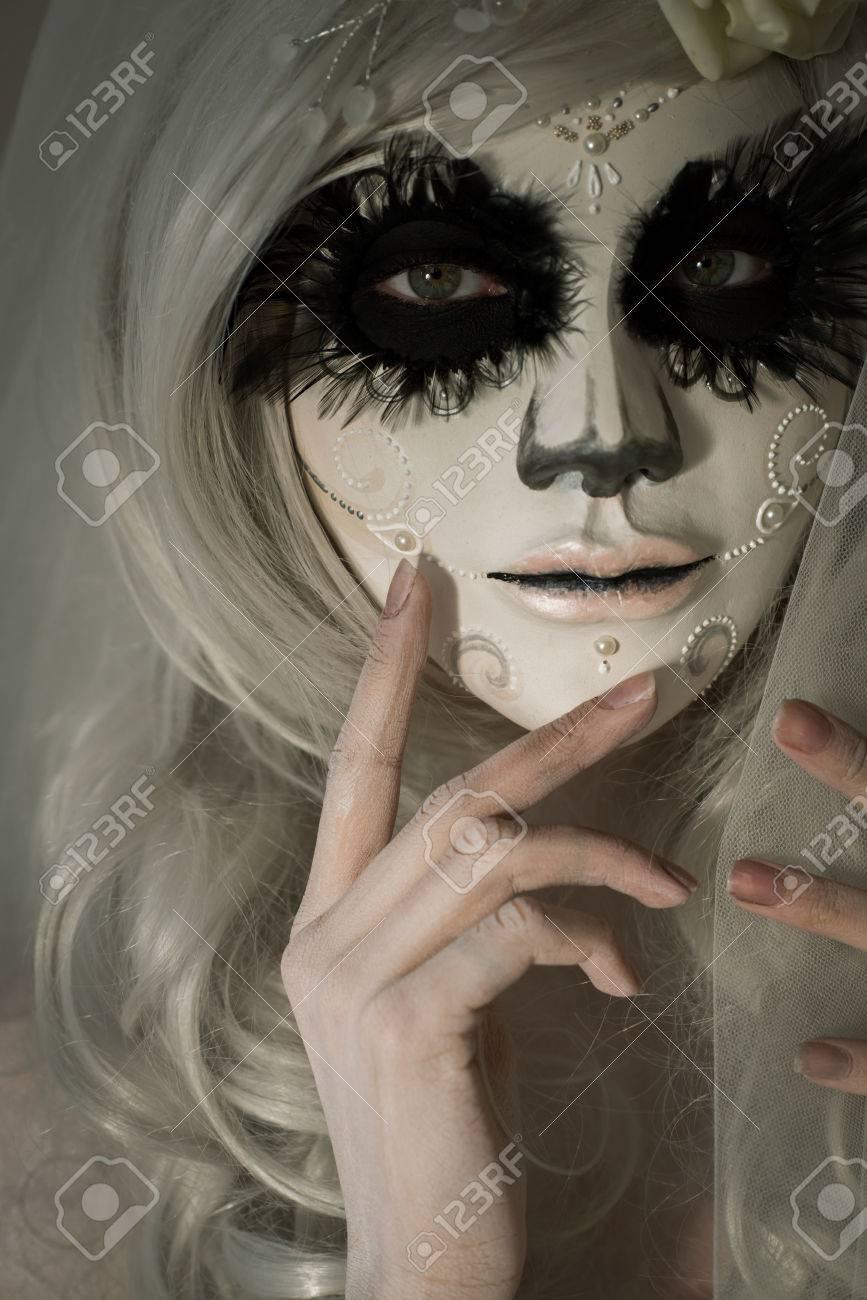 Halloween Witch. Beautiful Woman Wearing Santa Muerte Mask ...