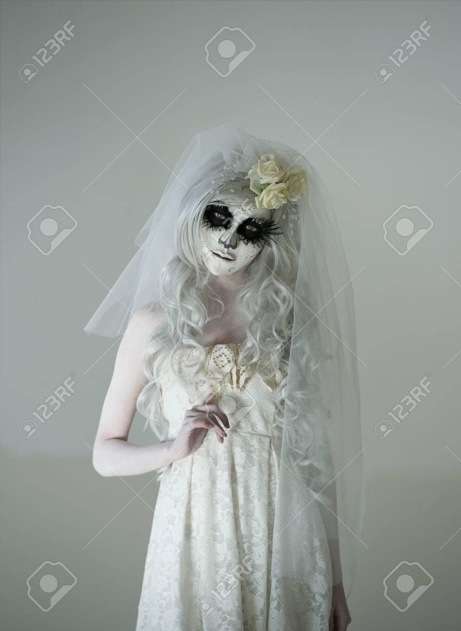 Beautiful Woman Wearing Santa Muerte Mask And Wedding Dress Dead Widow In