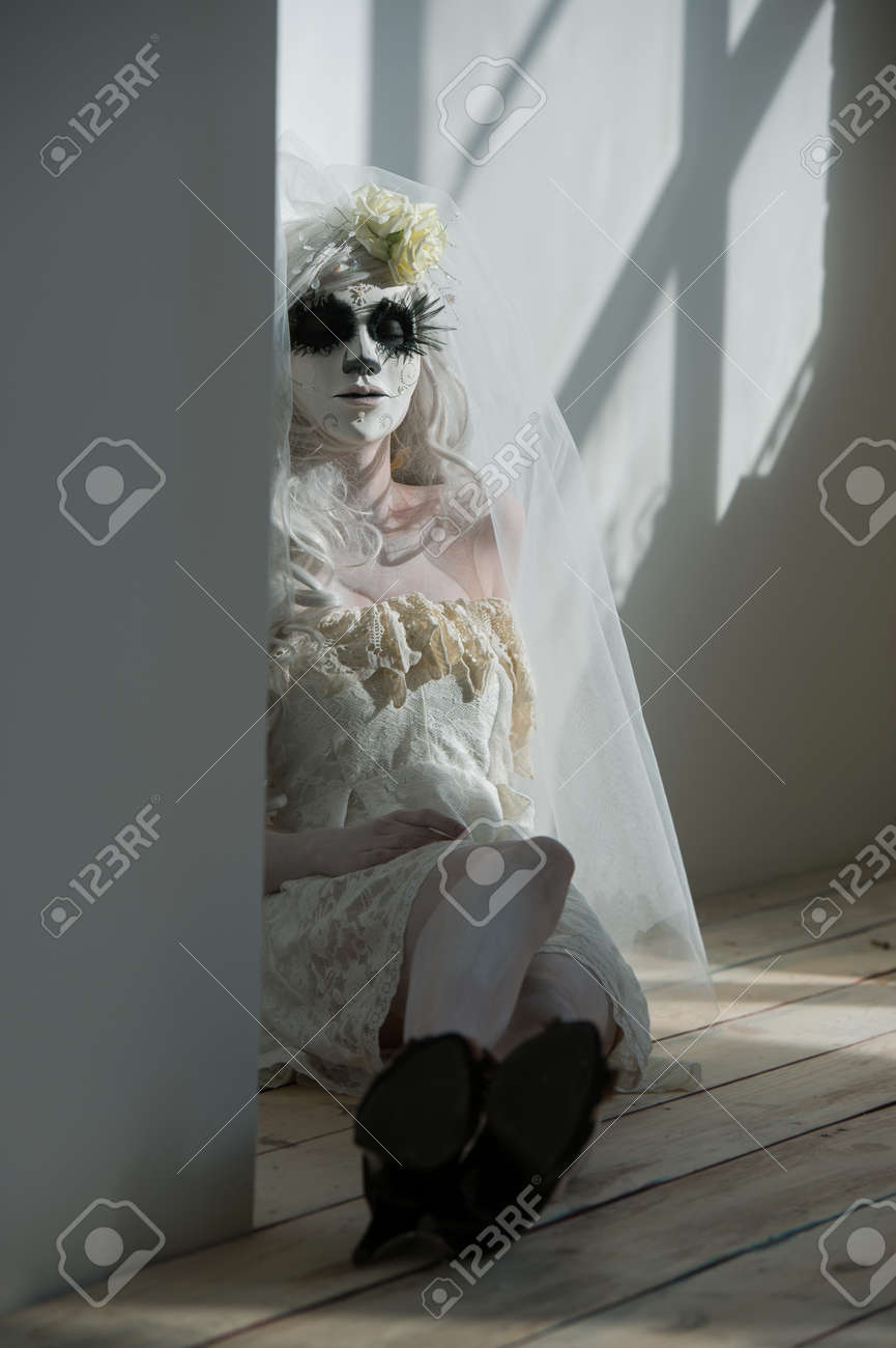 Halloween Witch. Beautiful Woman Wearing Santa Muerte Mask And ...