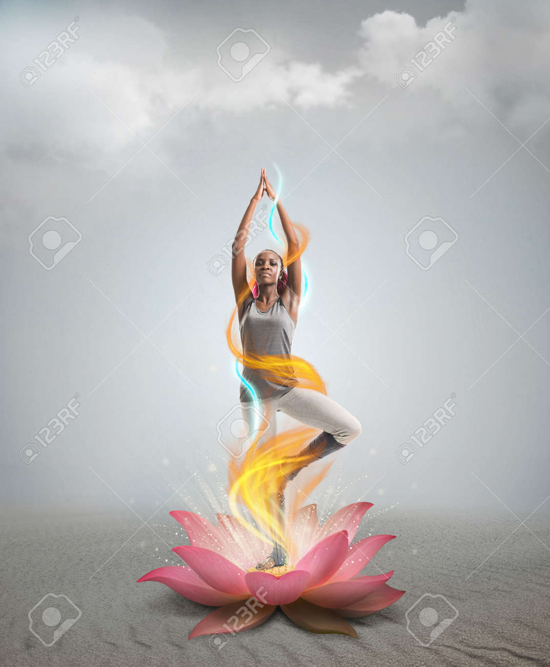 Silhouette Young African Woman Practicing Yoga In Lotus Flower Stock