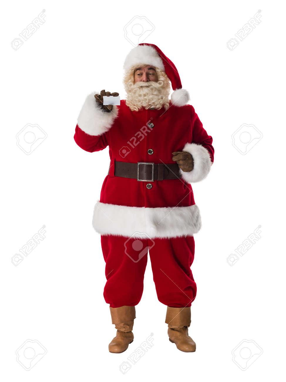 Santa Claus Holding Business Card Full-Length Portrait Stock Photo ...