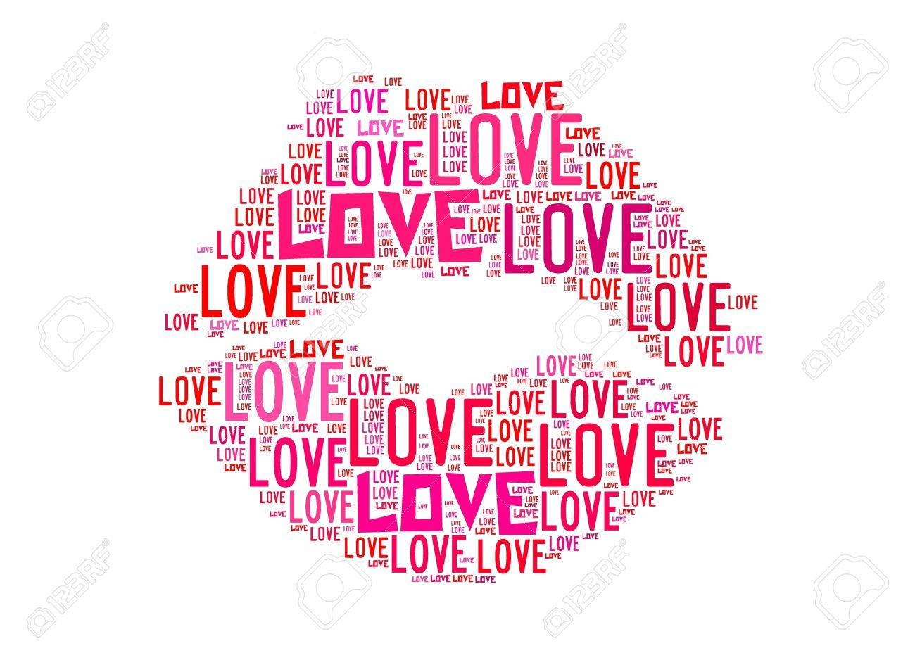 Kiss Symbol for love text graphics and arrangement concept on white background Stock Photo - 12324394