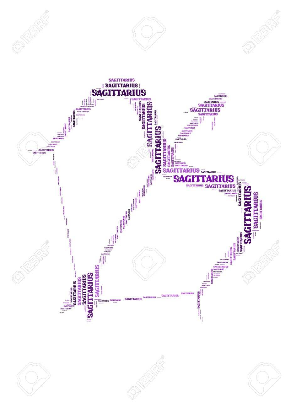 Text Cloud Symbol Of Sagittarius Stock Photo Picture And Royalty