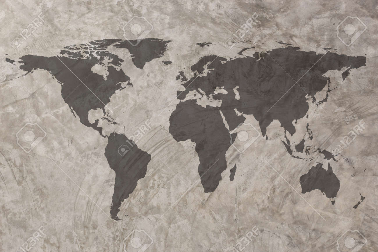 World map on grunge concrete wall texture background stock photo world map on grunge concrete wall texture background stock photo 31639168 gumiabroncs Gallery