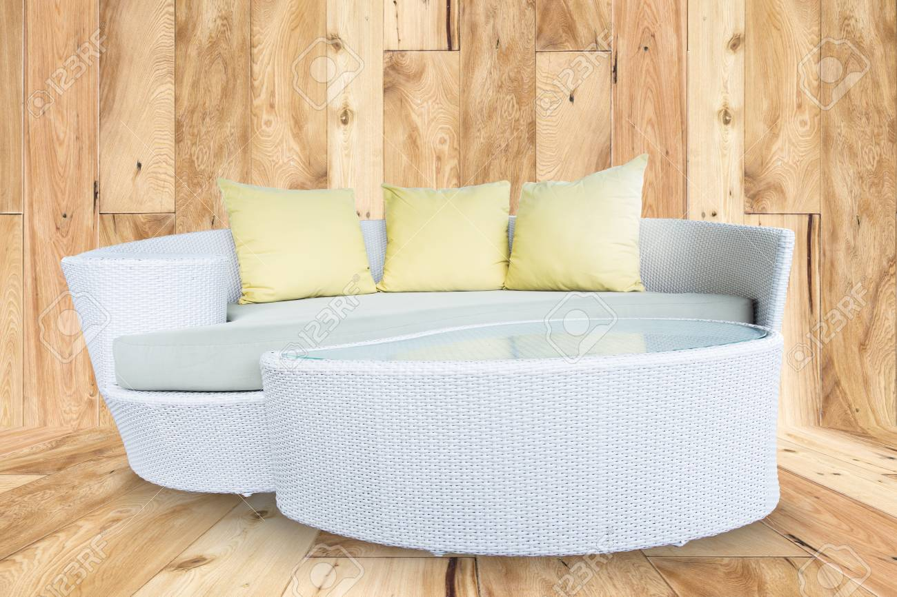 Sofa Furniture Weave Bamboo Stick Chair With Yellow Pillows On ...