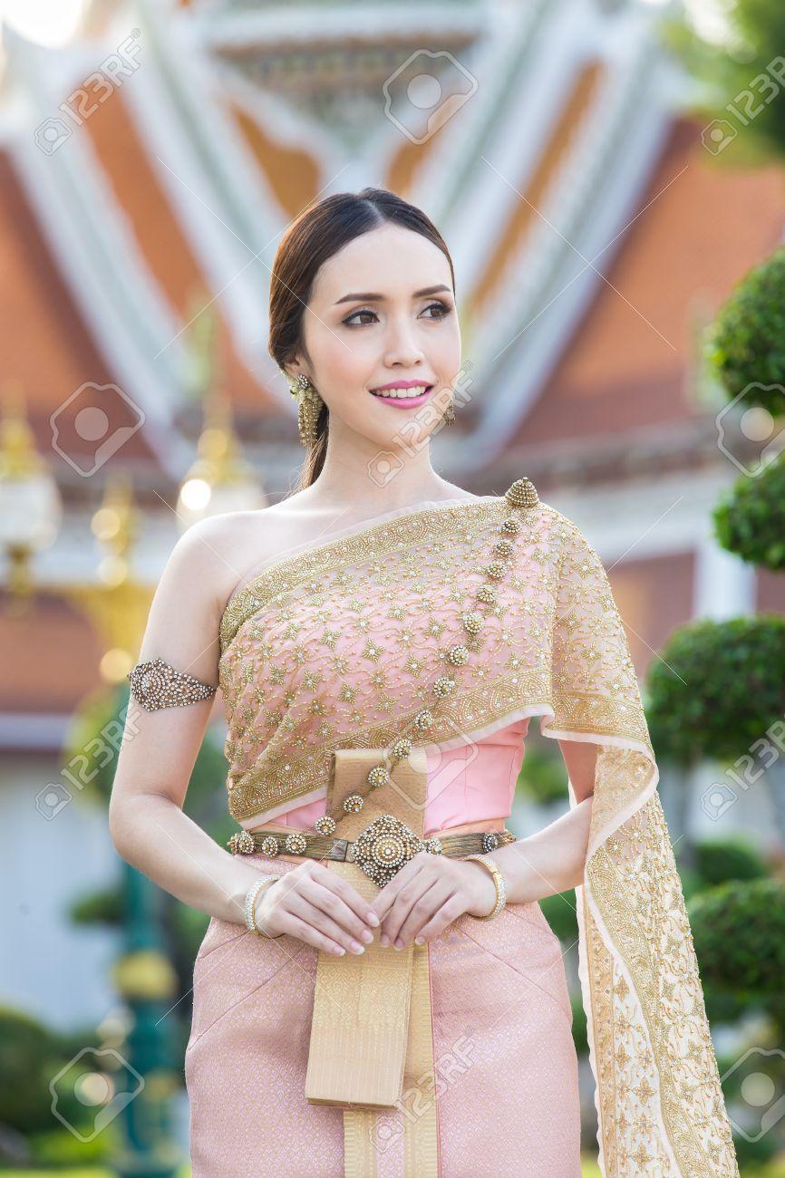 Thai Woman Wearing Thai Traditional Bridal Dresses (Thai Chakri ...