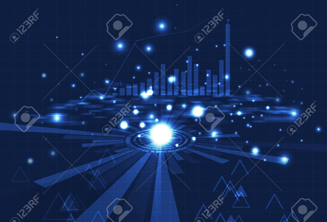 Business technology, analysis of digital bar chart, grid and data on blue concept with particles glowing abstract background vector illustration - 126495142