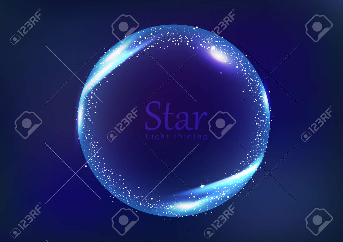 Star frame galaxy and space banner concept, circular ring light shining glowing scatter bright neon celebration banner abstract background vector illustration - 126476230