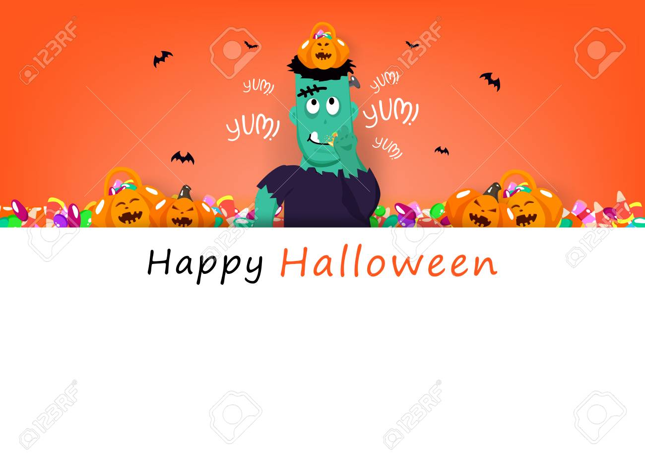 Happy Halloween card, frankestein eating sweet candy with cute pumpkin, celebration holiday season, party festival cartoon concept abstract background banner poster vector illustration - 126476254