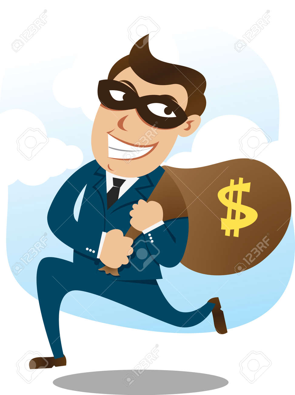 robber carrying a sack of money Stock Vector - 8079117