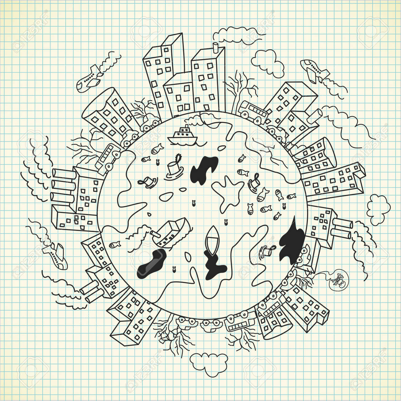 pollution doodle - 9706791