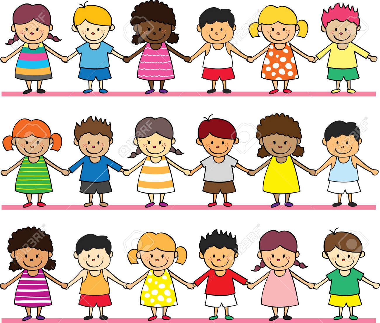 happy children holding hand Stock Vector - 10207512