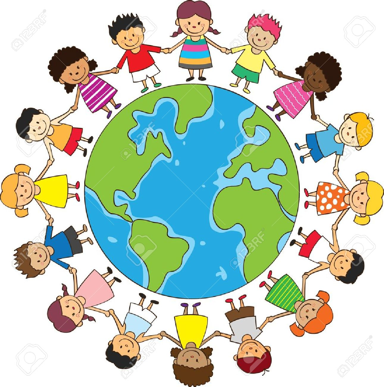 happy children holding hand with globe royalty free cliparts rh 123rf com